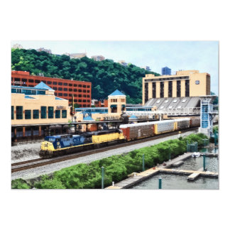 Pittsburgh PA - Train Going By Station Square Card