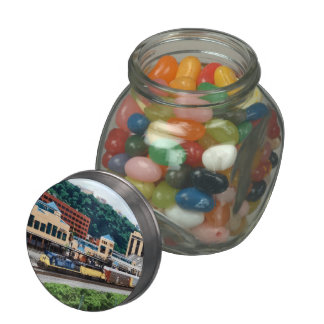 Pittsburgh PA - Train Going By Station Square Glass Candy Jars