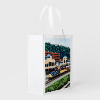 Pittsburgh PA - Train Going By Station Square Grocery Bag