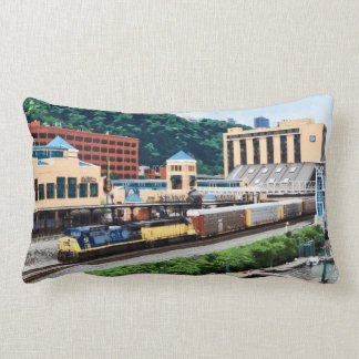 Pittsburgh PA - Train Going By Station Square Lumbar Pillow