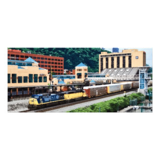 Pittsburgh PA - Train Going By Station Square Rack Card