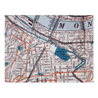 PITTSBURGH, PA Vintage Map Postcard