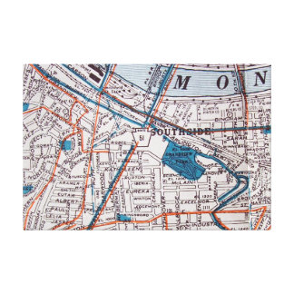 Pittsburgh, PA Vintage Map Print Gallery Wrap Canvas