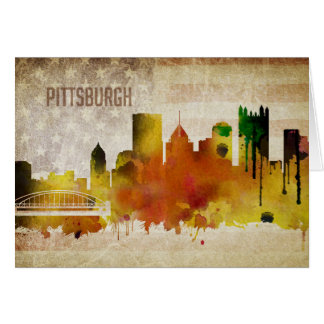 Pittsburgh, PA | Watercolor City Skyline Card