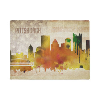Pittsburgh, PA | Watercolor City Skyline Doormat