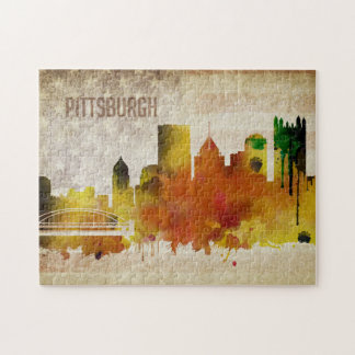 Pittsburgh, PA | Watercolor City Skyline Jigsaw Puzzle