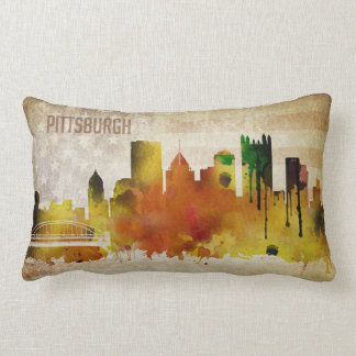 Pittsburgh, PA | Watercolor City Skyline Lumbar Pillow
