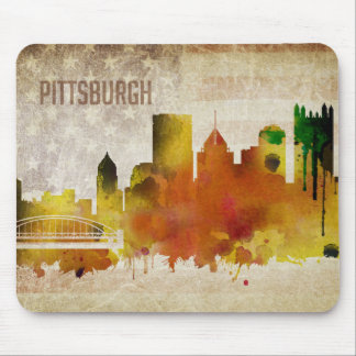 Pittsburgh, PA | Watercolor City Skyline Mouse Pad
