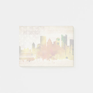 Pittsburgh, PA | Watercolor City Skyline Post-it Notes