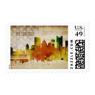 Pittsburgh, PA | Watercolor City Skyline Postage