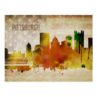 Pittsburgh, PA | Watercolor City Skyline Postcard