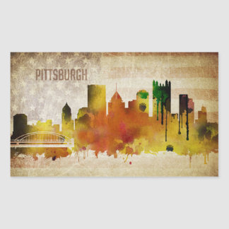 Pittsburgh, PA | Watercolor City Skyline Rectangular Sticker