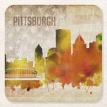 "Pittsburgh, PA | Watercolor City Skyline Square Paper Coaster<br><div class=""desc"">A neon watercolor outline of the Pittsburgh city skyline with a distressed American flag backdrop.</div>"