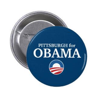 PITTSBURGH para el personalizado de Obama su ciuda Pin Redondo De 2 Pulgadas
