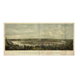 Pittsburgh Pennsylvania 1871 Antique Panoramic Map Poster