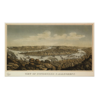Pittsburgh Pennsylvania 1874 Antique Panoramic Map Posters