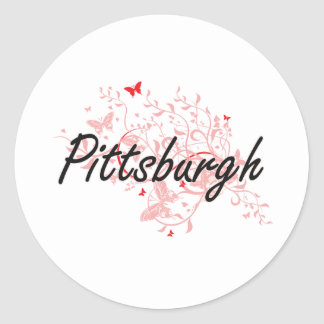 Pittsburgh Pennsylvania City Artistic design with Classic Round Sticker