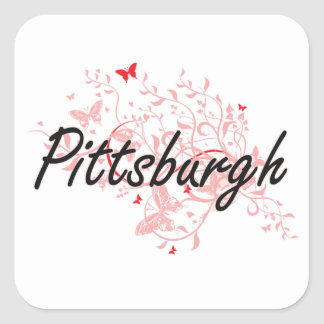 Pittsburgh Pennsylvania City Artistic design with Square Sticker