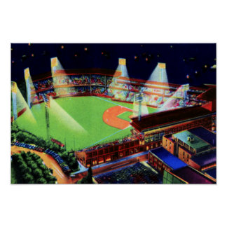 Pittsburgh Pennsylvania Forbes Field at Night Poster