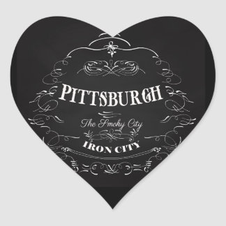 Pittsburgh Pennsylvania - la ciudad ahumada Pegatina En Forma De Corazón
