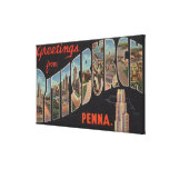 Pittsburgh, Pennsylvania - Large Letter Scenes Canvas Print