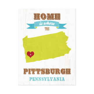 Pittsburgh, Pennsylvania Map – Home Is Where Canvas Print