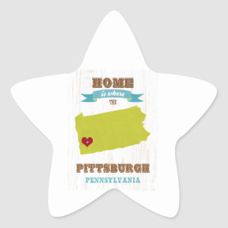 Pittsburgh, Pennsylvania Map – Home Is Where Star Sticker