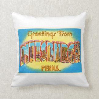 Pittsburgh Pennsylvania PA Vintage Travel Souvenir Throw Pillow