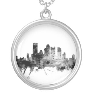 Pittsburgh Pennsylvania Skyline Silver Plated Necklace