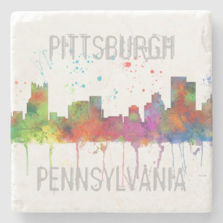 PITTSBURGH PENNSYLVANIA SKYLINE STONE COASTER