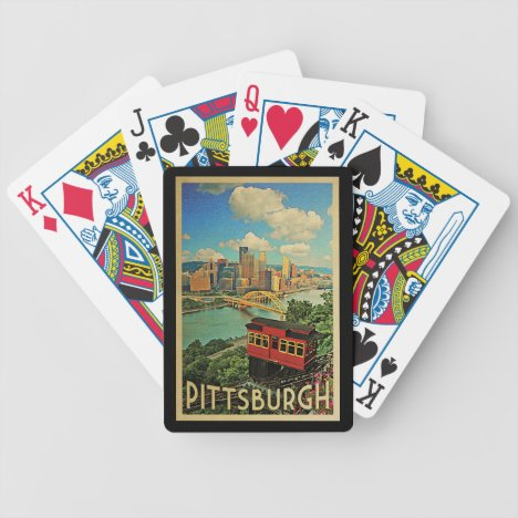 Pittsburgh Pennsylvania Vintage Travel Bicycle Playing Cards