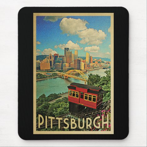 Pittsburgh Pennsylvania Vintage Travel Mouse Pad