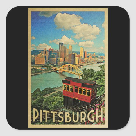 Pittsburgh Pennsylvania Vintage Travel Square Sticker