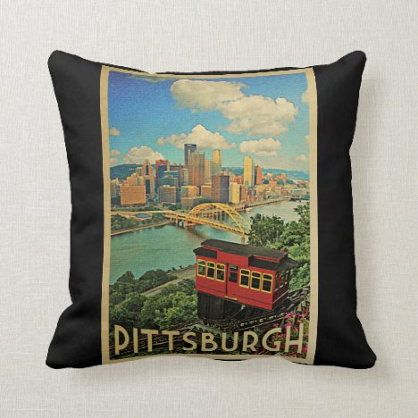 Pittsburgh Pennsylvania Vintage Travel Throw Pillow