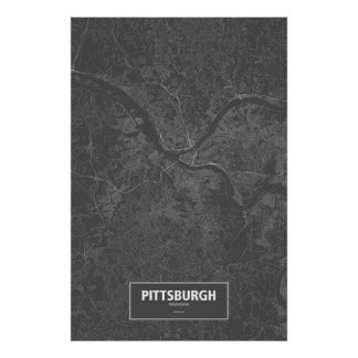 Pittsburgh, Pennsylvania (white on black) Posters