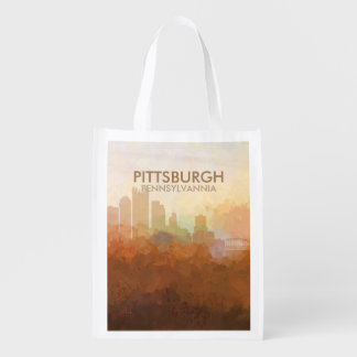 Pittsburgh, Pennsylvannia Skyline IN CLOUDS Reusable Grocery Bag