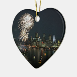 Pittsburgh-Photo-Ornament-Heart Shape Double-Sided Heart Ceramic Christmas Ornament