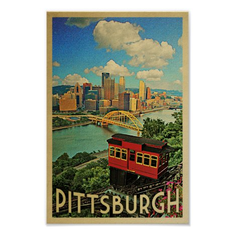 Pittsburgh Poster Vintage Travel Duquesne Incline