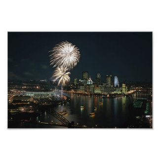 Pittsburgh Prints at Night With Fireworks