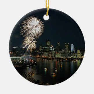 Pittsburgh- Rare -Photo- Ornament-Night & Day View Double-Sided Ceramic Round Christmas Ornament