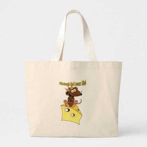 Pittsburgh Rat Lovers Club© Logo Dark Brown Rat Large Tote Bag