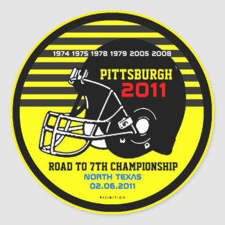 Pittsburgh Road To 7th Football Champs Sticker