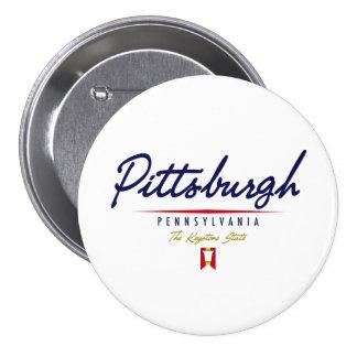 Pittsburgh Script 3 Inch Round Button