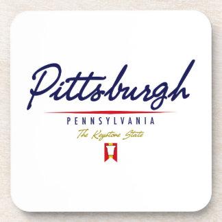 Pittsburgh Script Beverage Coasters