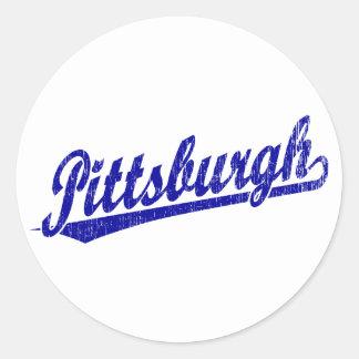 Pittsburgh script logo in blue classic round sticker