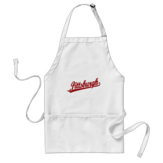 Pittsburgh script logo in red adult apron