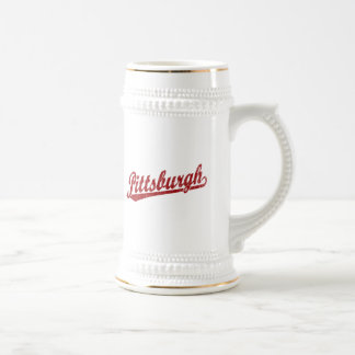 Pittsburgh script logo in red beer stein