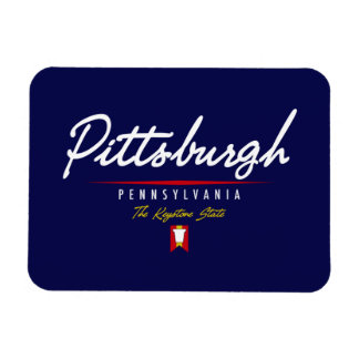 Pittsburgh Script Rectangle Magnet