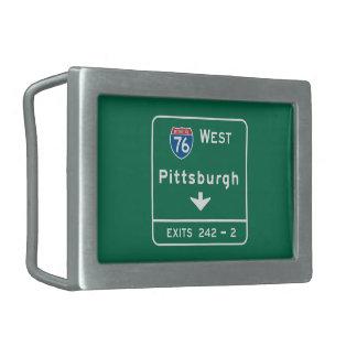 Pittsburgh, señal de tráfico del PA Hebilla De Cinturon Rectangular