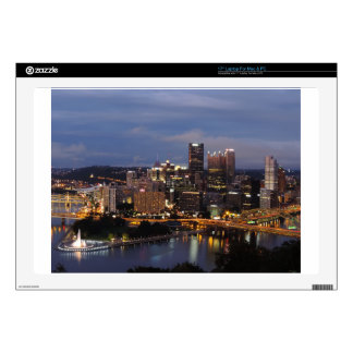 "Pittsburgh Skyline at Dusk 17"" Laptop Decal"